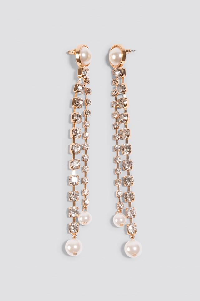 Hanging Rhinestone Pearl Earrings Na Kd Com