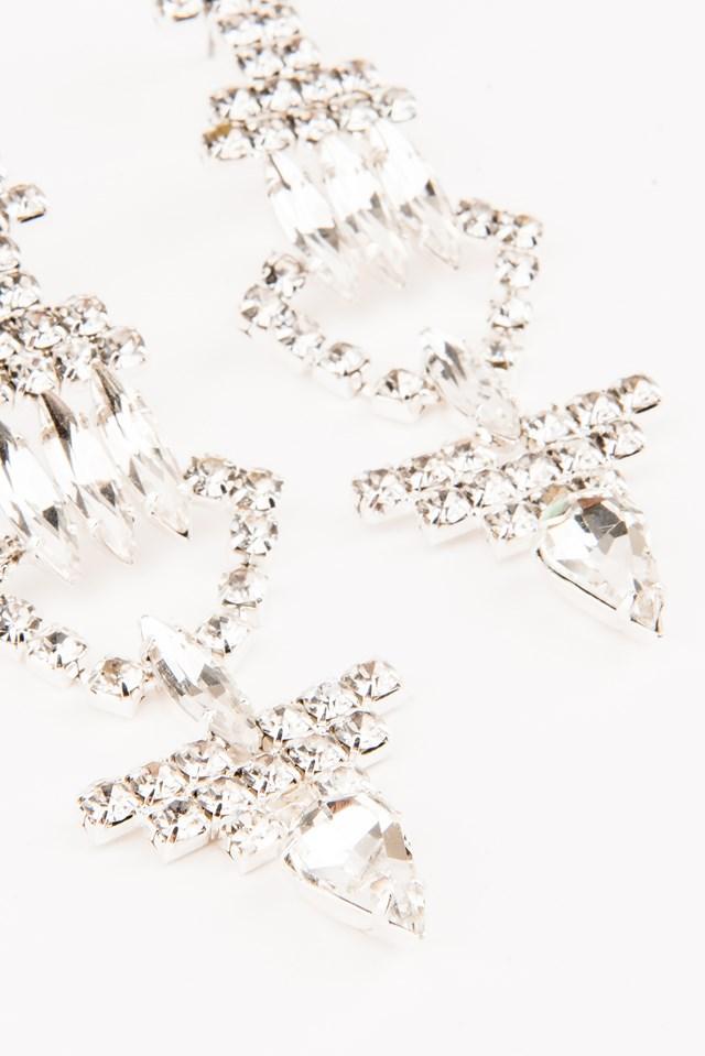 Hanging Rhinestone Triangle Earrings Silver