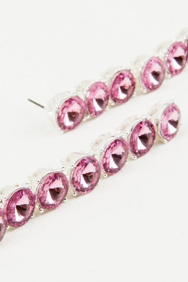 Hanging Row Stone Earrings Pink