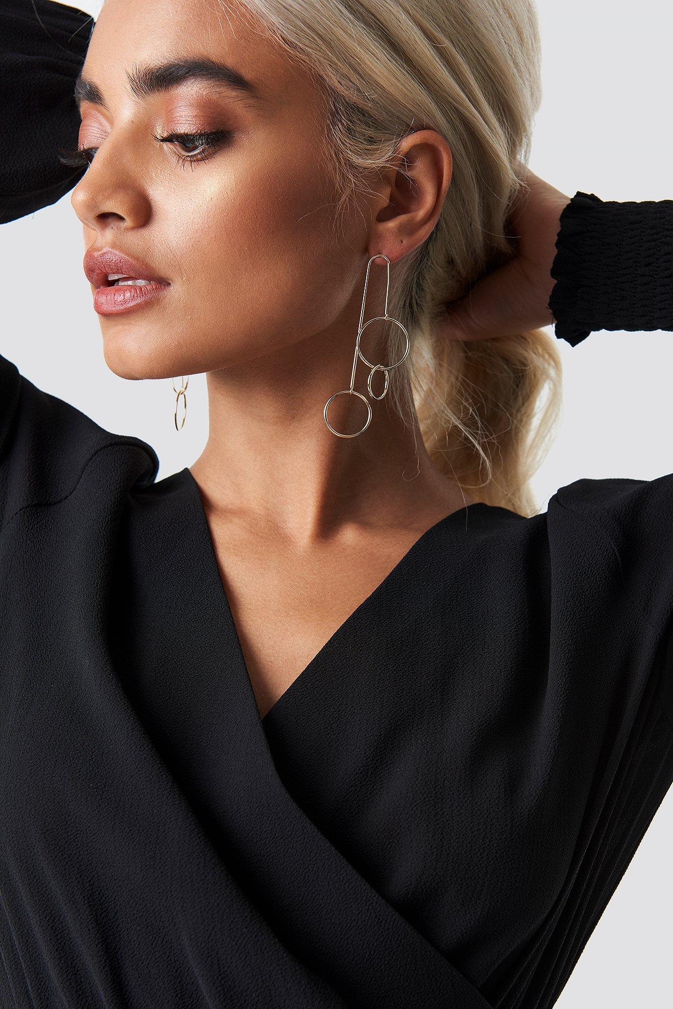 na-kd accessories -  Hanging Triple Hoop Earrings - Gold