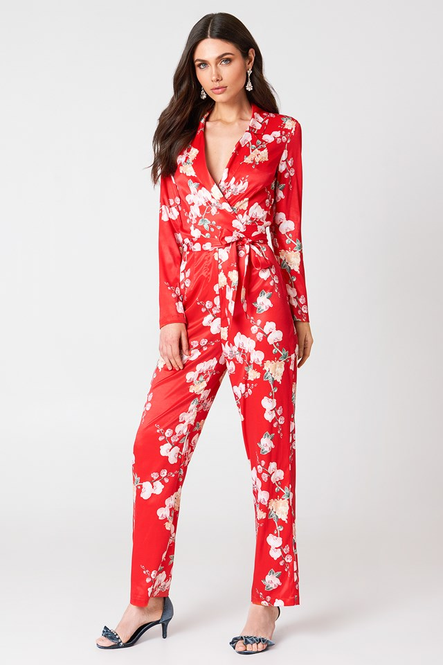Blazer Satin Jumpsuit Red Orchid Print