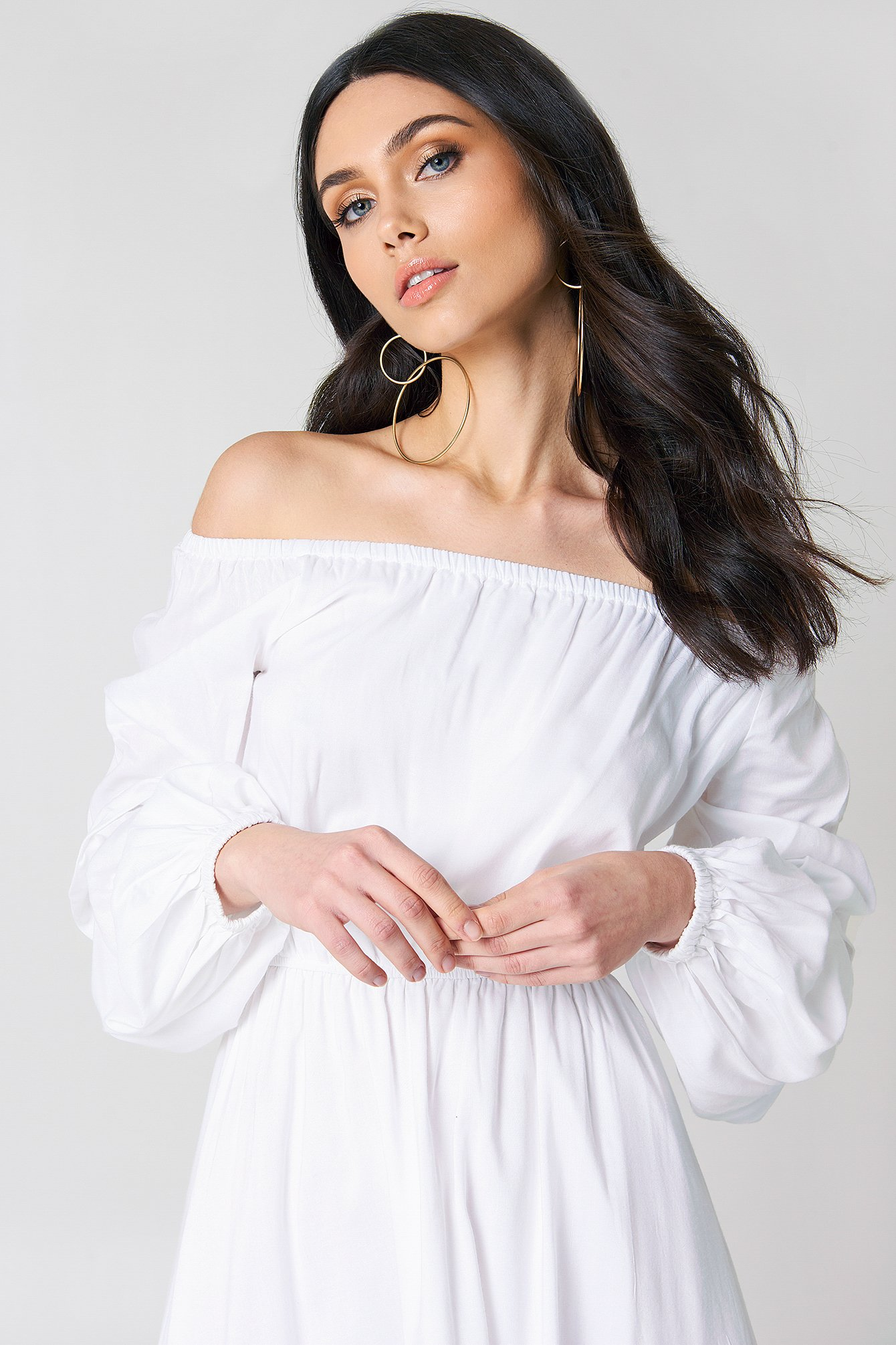 Off Shoulder Ballon Sleeve Dress NA-KD.COM