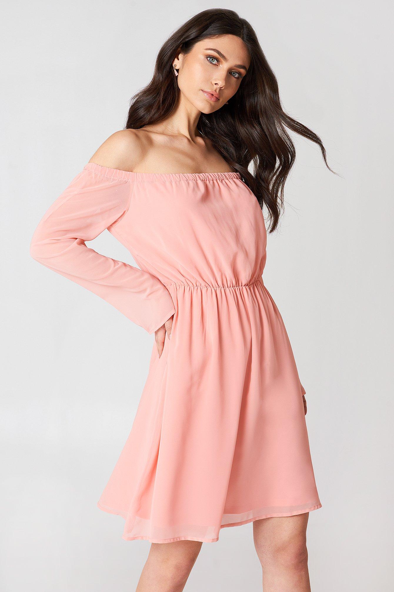 Off Shoulder Chiffon Dress NA-KD.COM