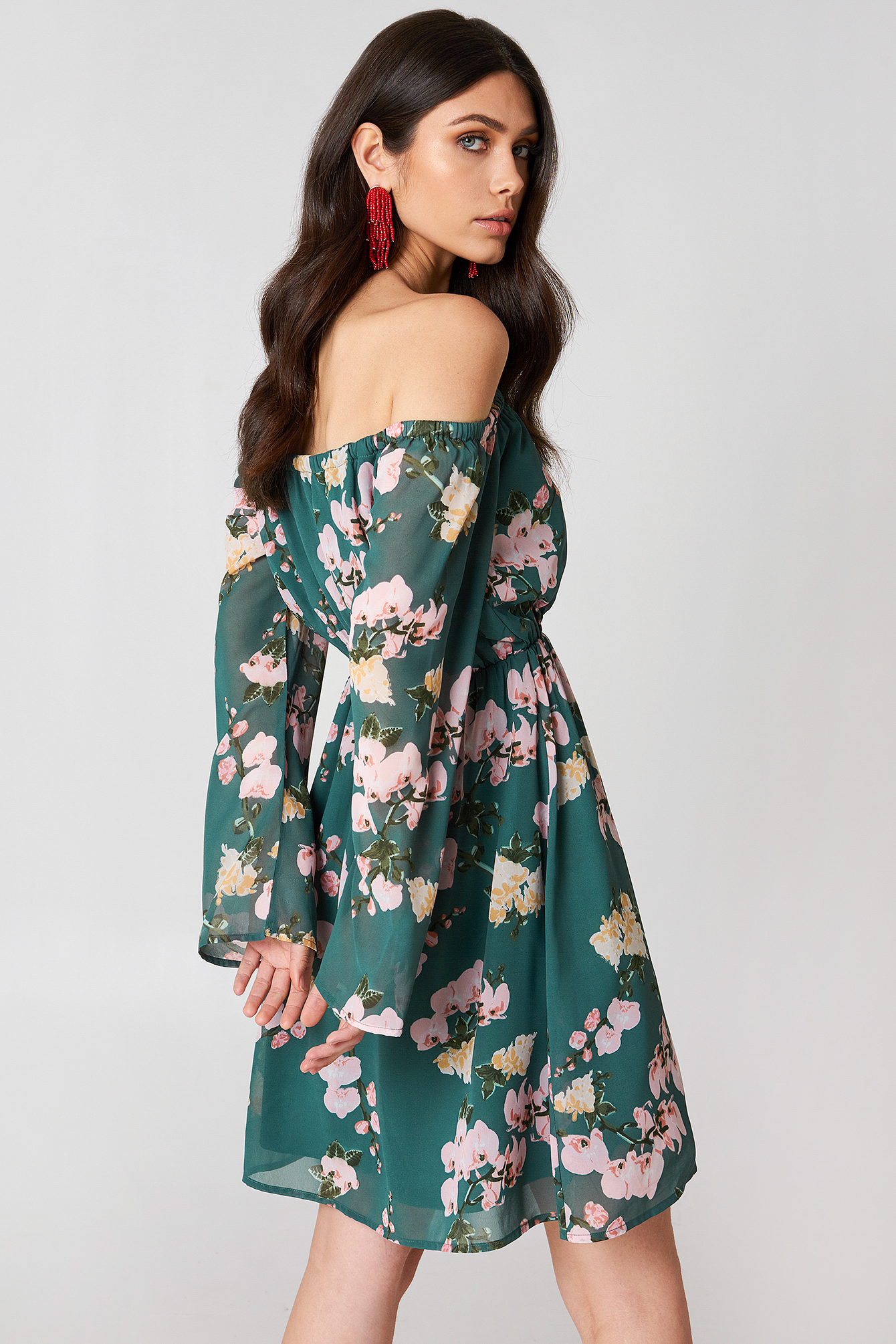 Off Shoulder Chiffon Dress NA-KD.COM