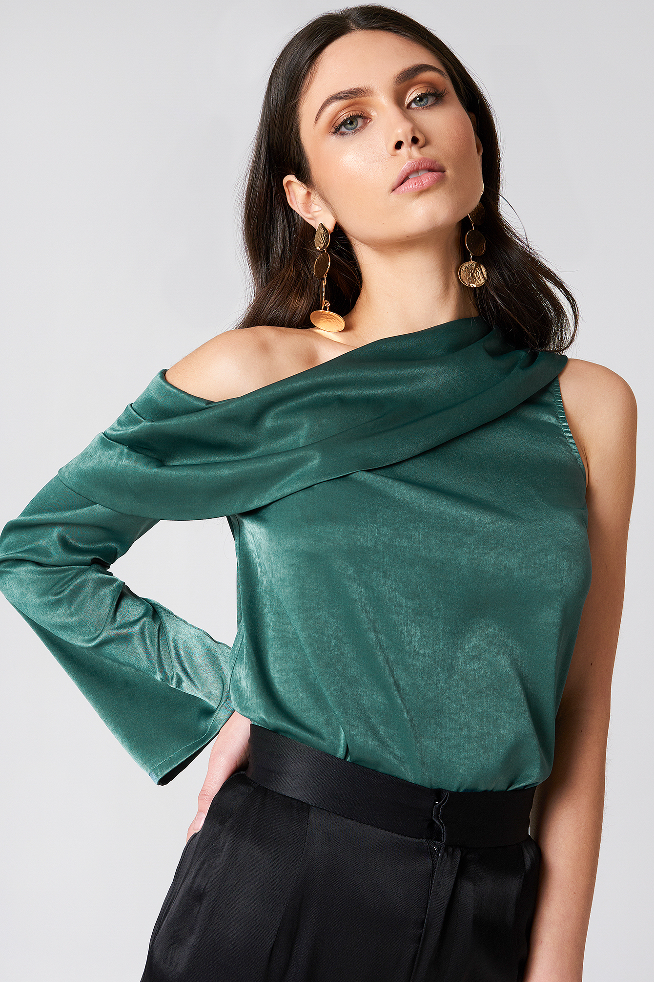 One Shoulder Satin Blouse NA-KD.COM