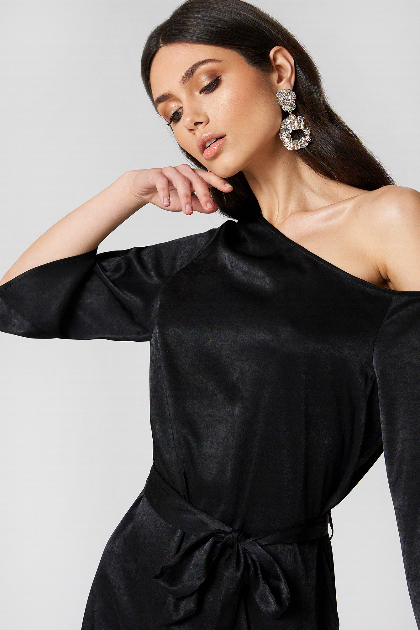 One Shoulder Tie Waist Dress NA-KD.COM