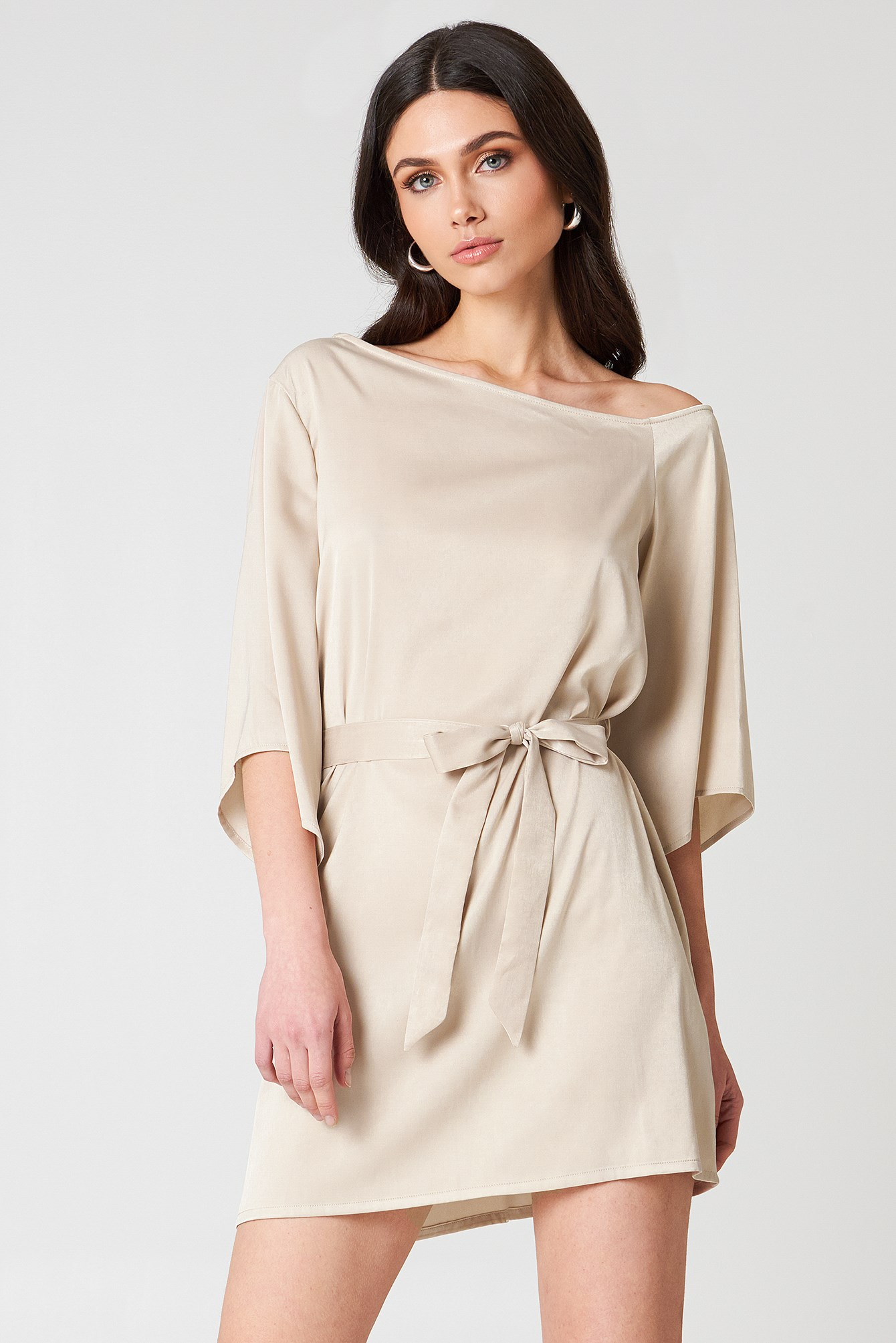 One Shoulder Tie Waist Dress NA-KD.COM