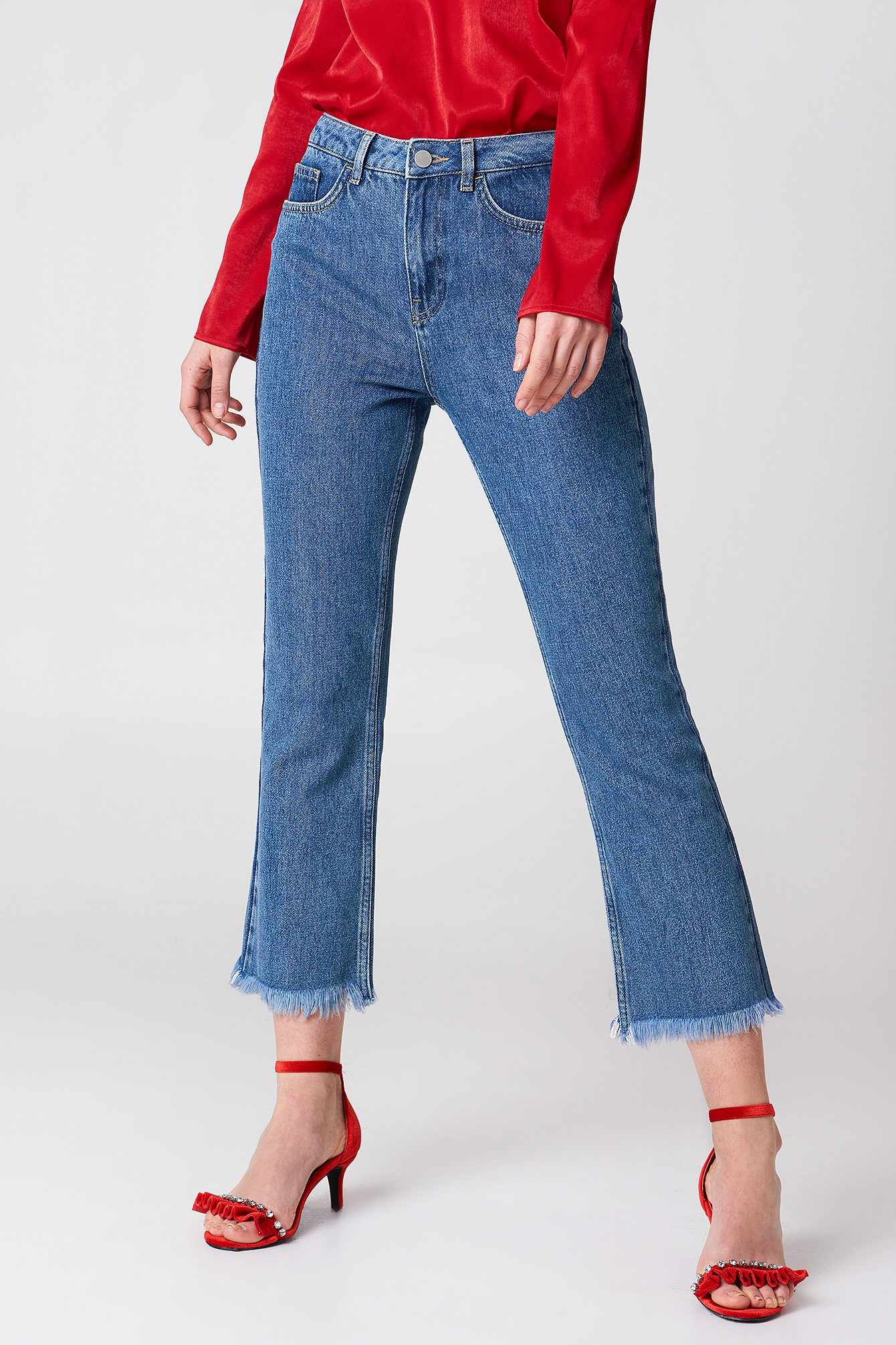 Raw Hem Flared Jeans NA-KD.COM