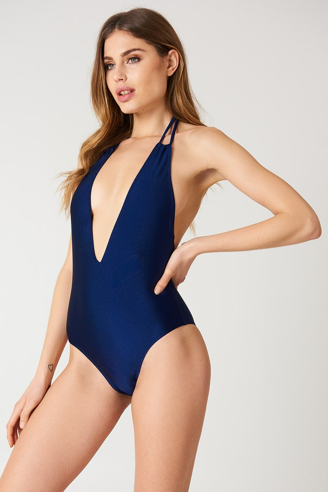 Halterneck Plunge Swimsuit Dark Blue