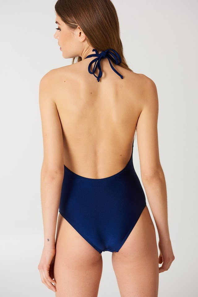 Halterneck Plunge Swimsuit Dark Blue