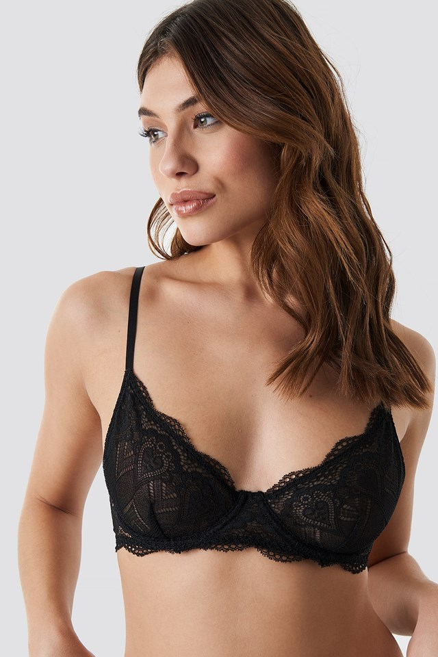 Heart Lace Cup Bra NA-KD Lingerie