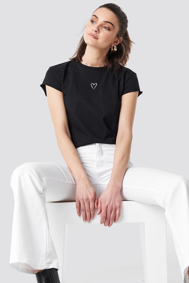 Heart Tee Black/White