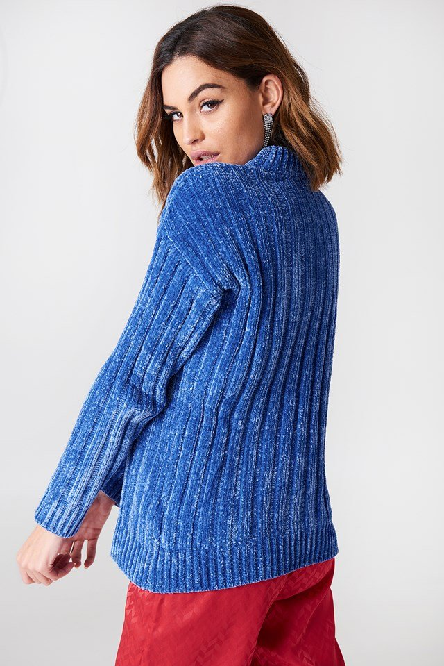 Heavy Knitted Oversize Sweater Cobolt