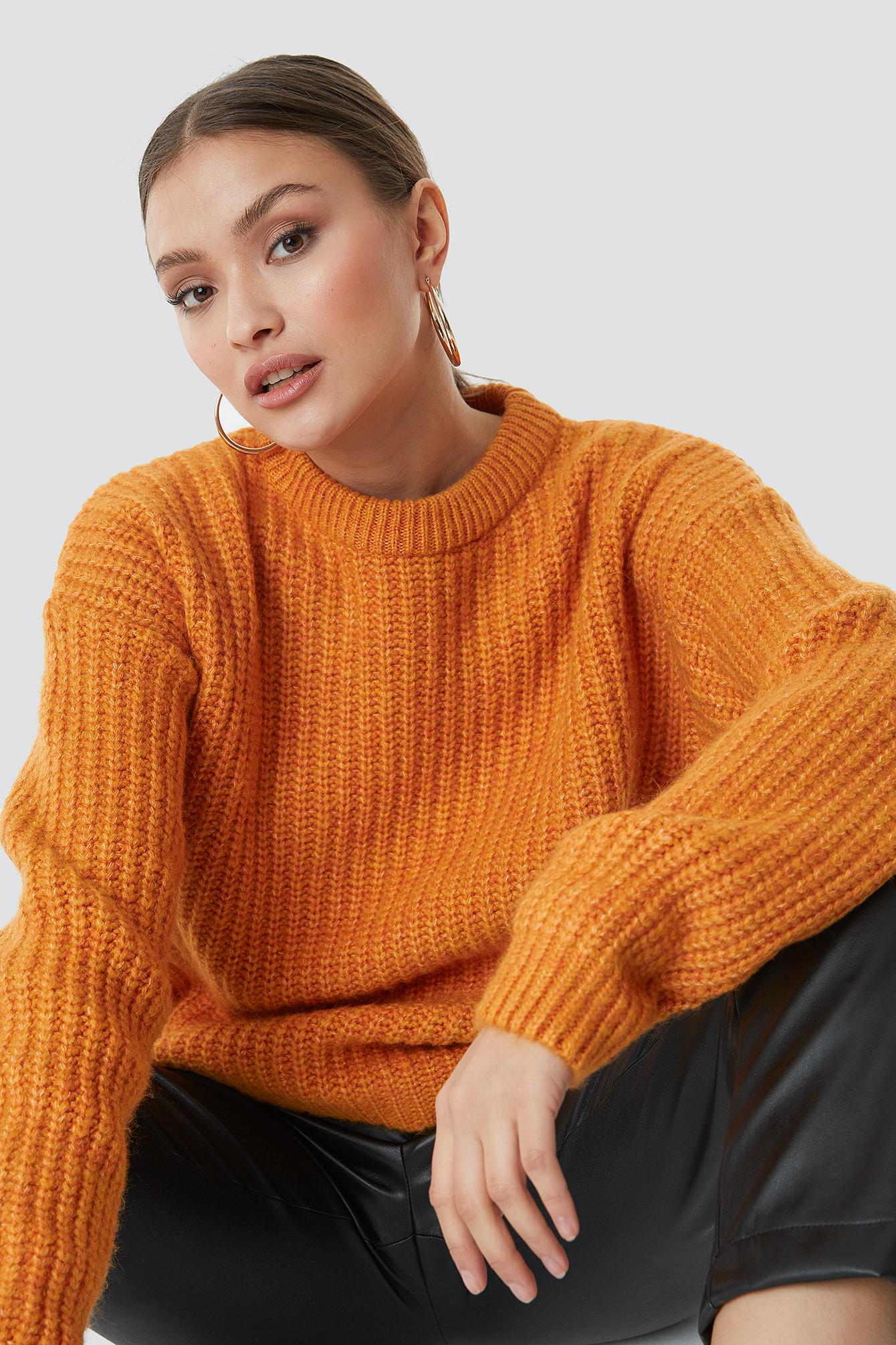 na-kd -  Heavy Knit Round Neck Sweater - Orange