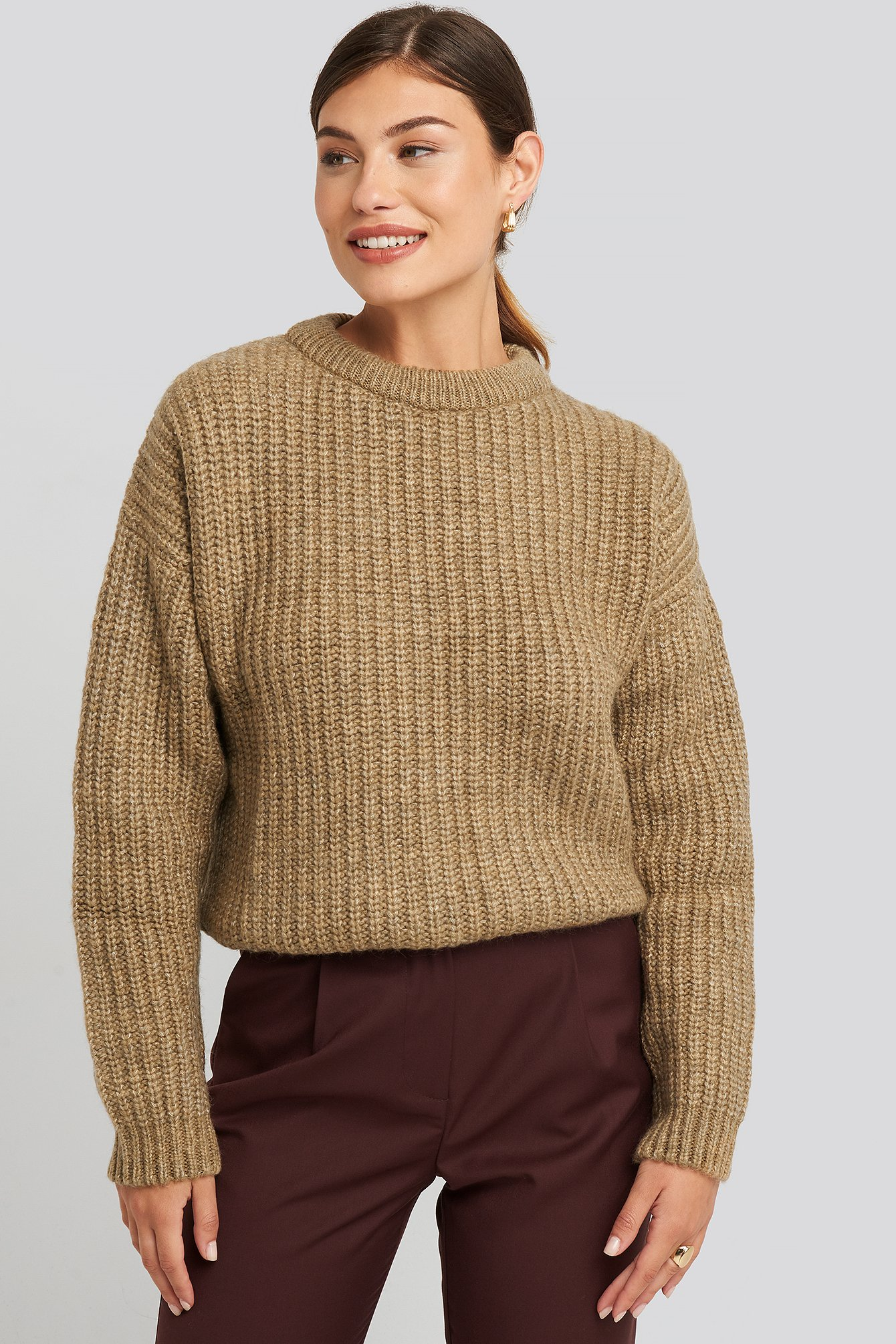 na-kd -  Heavy Knit Round Neck Sweater - Beige