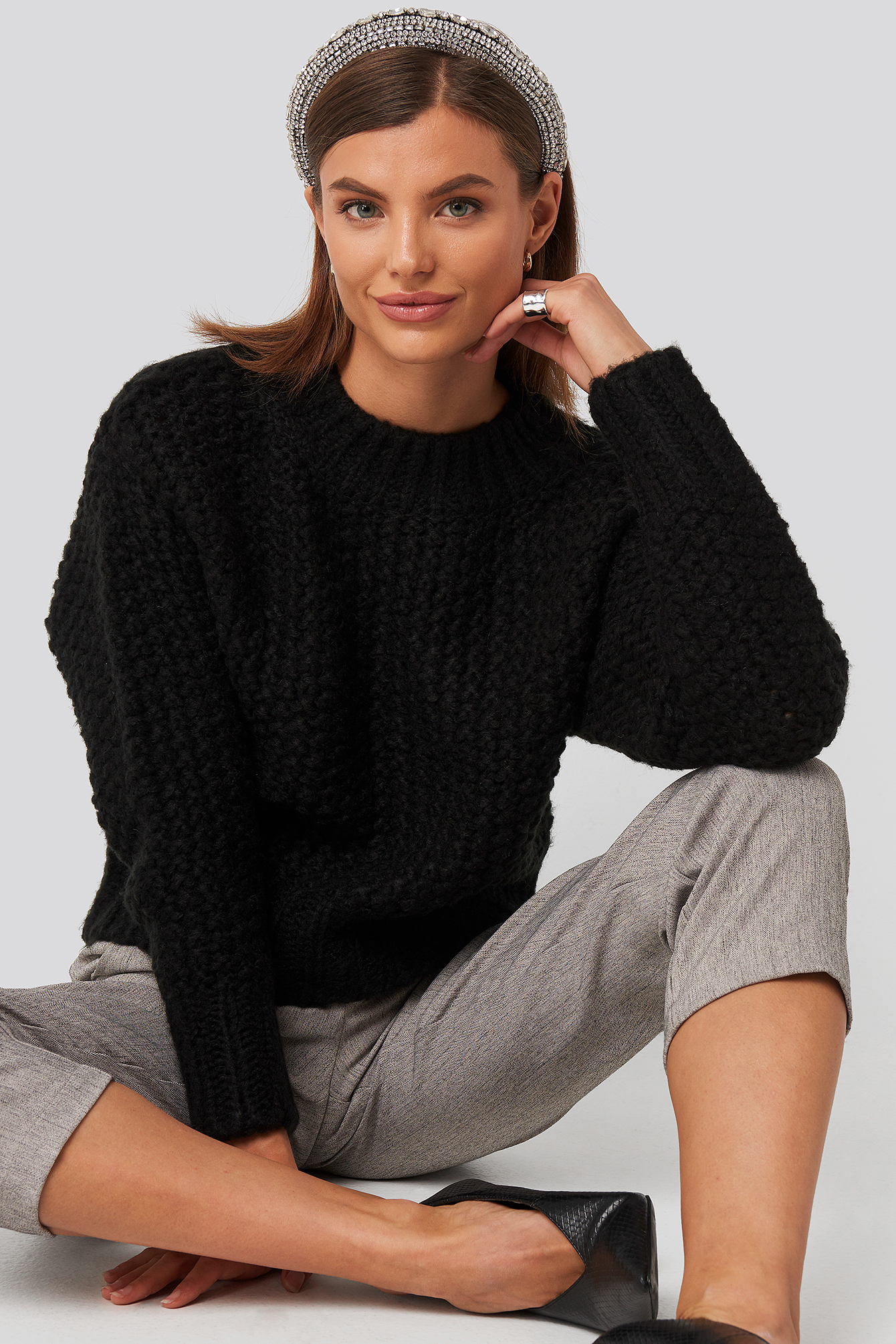 Black Heavy Knitted Wide Rib Sweater