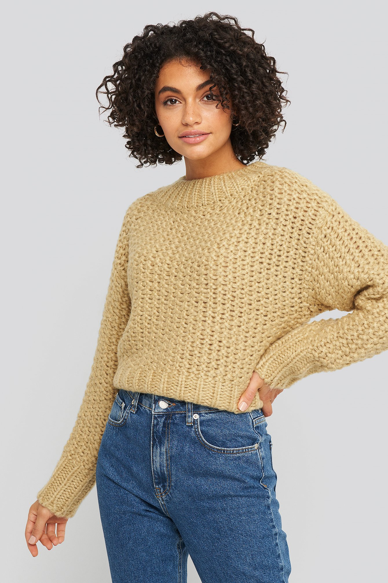 NA-KD Trend Heavy Knitted Wide Rib Sweater - Beige