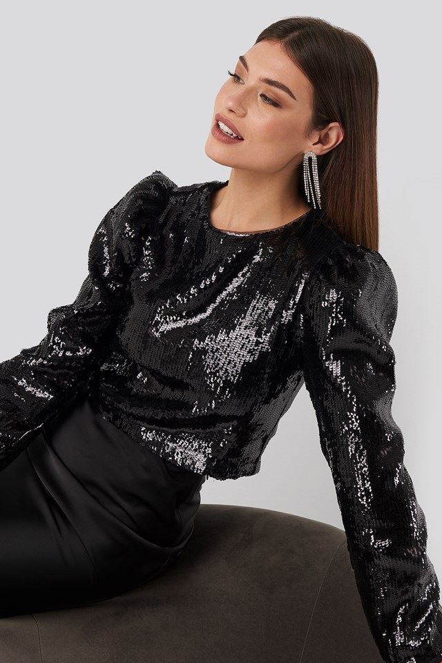 Heavy Sequin Puff Sleeve Blouse Black