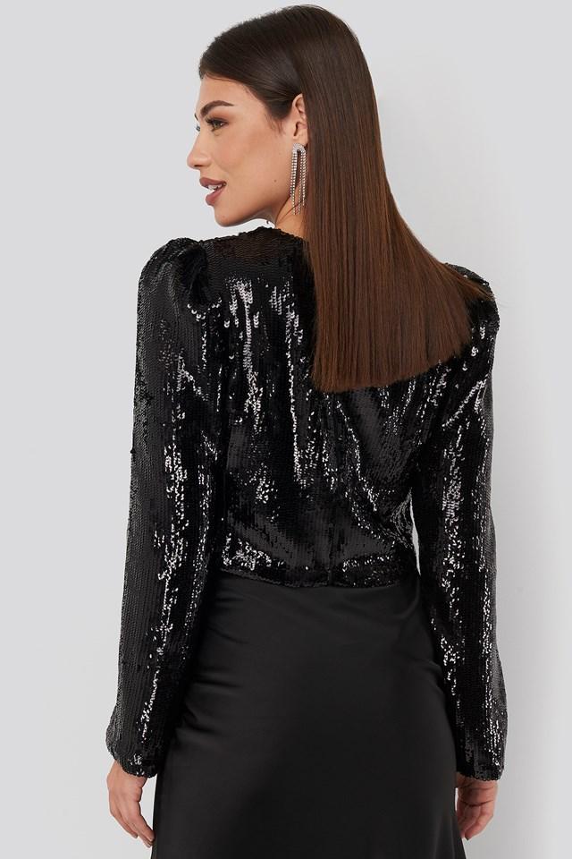 Heavy Sequin Puff Sleeve Blouse Black