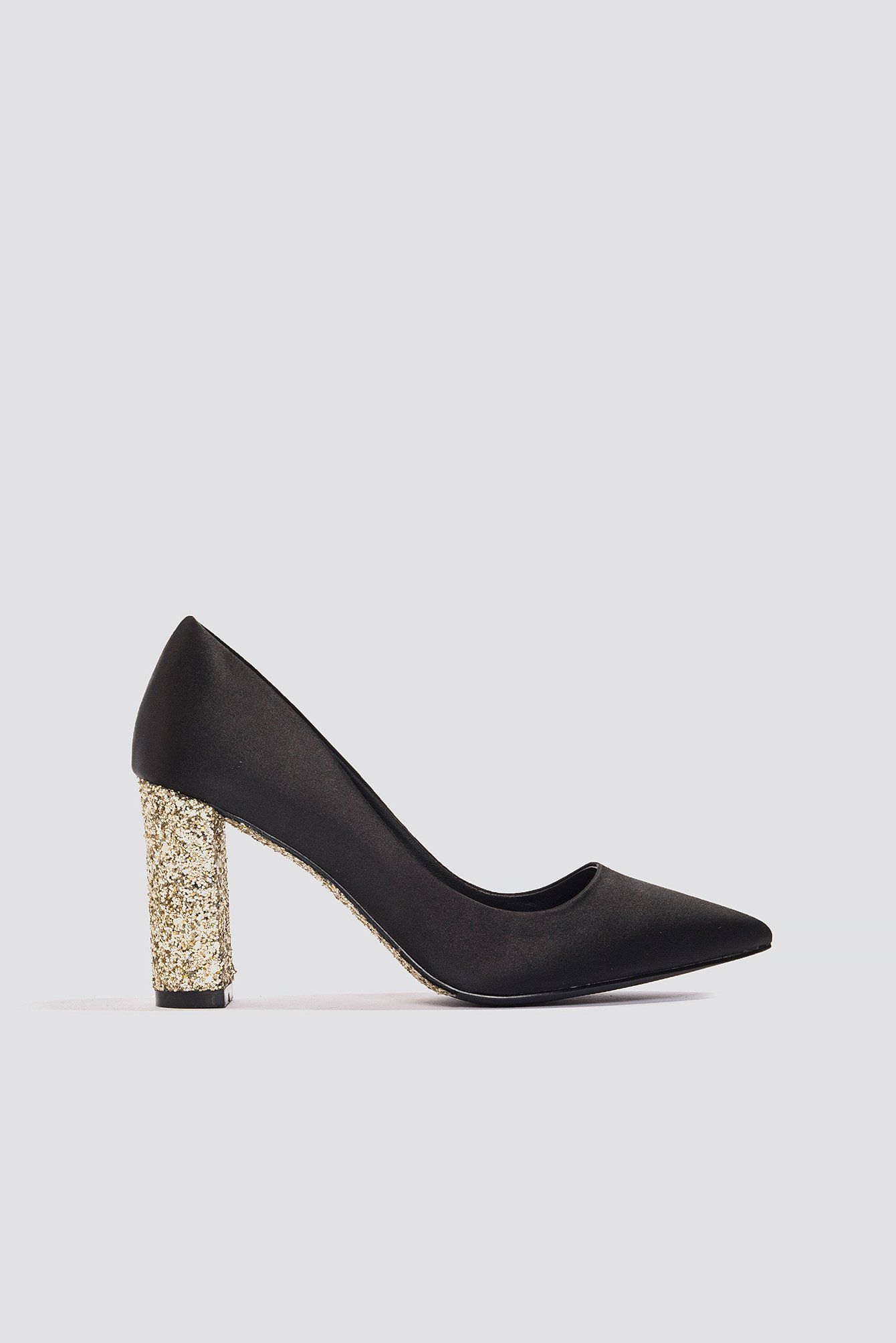 7c1435184c1 Glitter Heel Satin Pumps Black/Gold | na-kd.com
