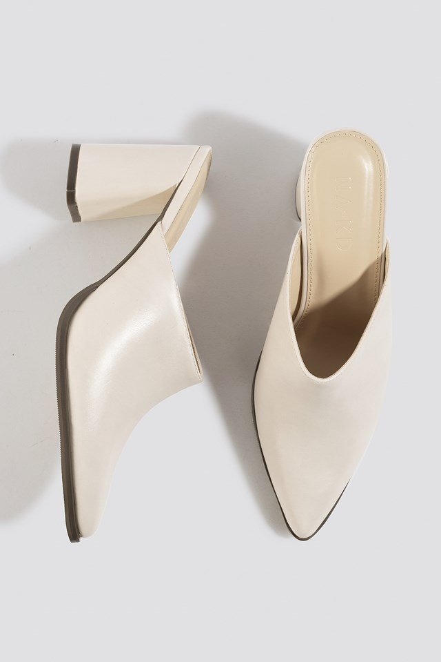 Heeled Pointy Mules Nude
