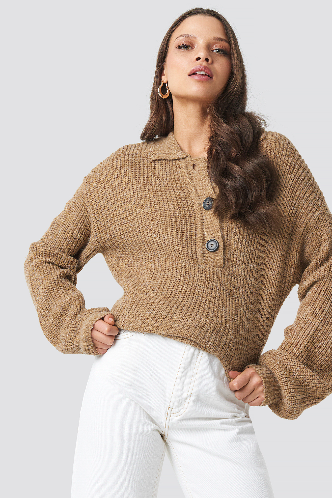 Henley Knitted Sweater NA-KD.COM