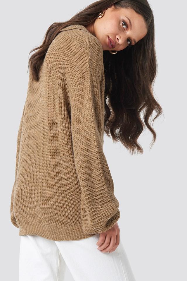 Henley Knitted Sweater Beige