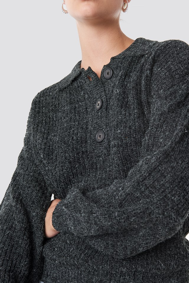 Henley Knitted Sweater Grey