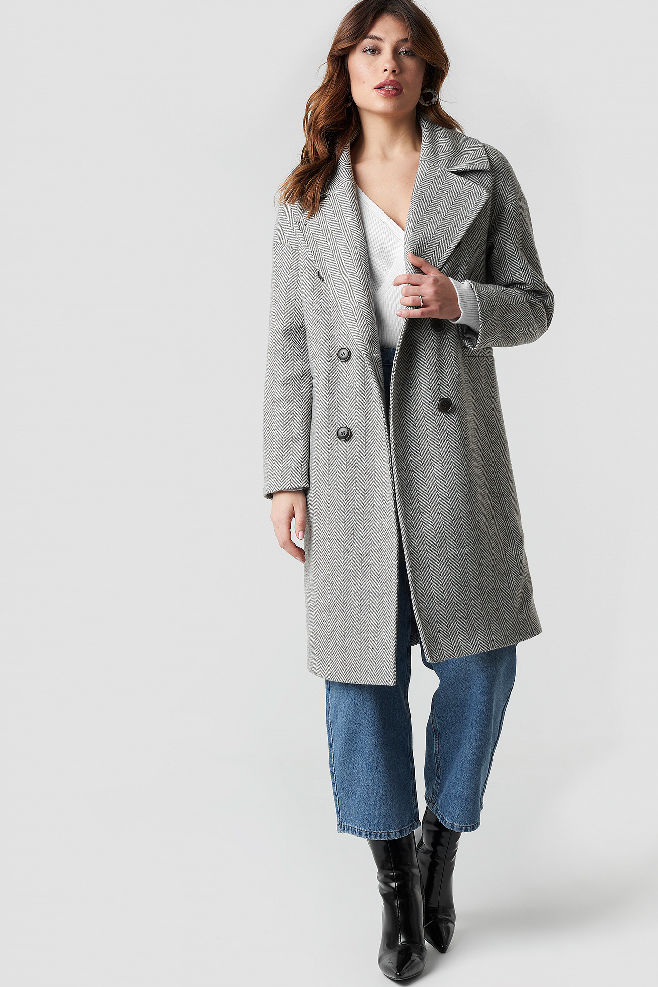 Herringbone Double Breasted Coat NA-KD.COM