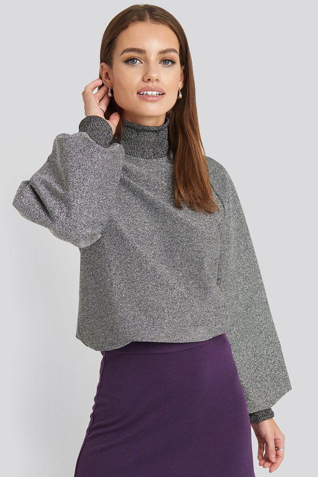 High Neck Balloon Sleeve Sweater Silver