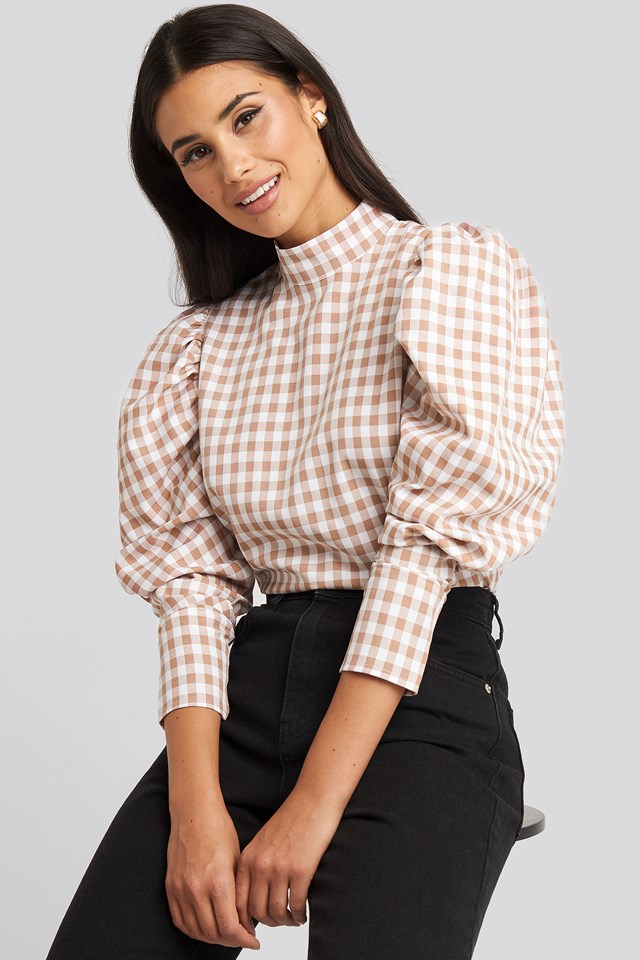 High Collar Checked Blouse White/Dusty Pink