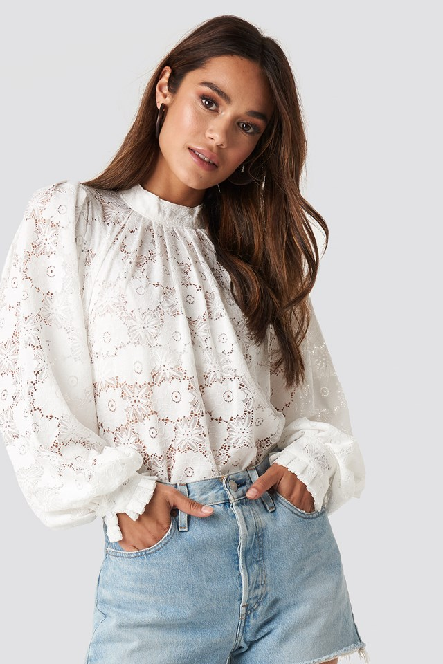 High Collar Flower Lace Blouse White
