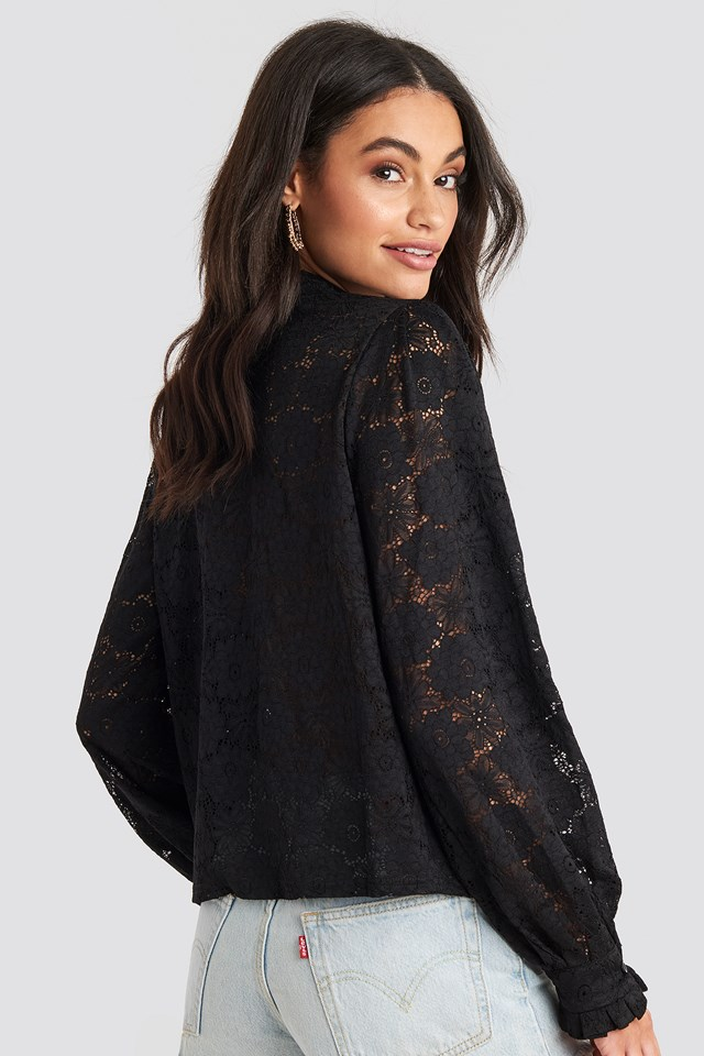 High Collar Flower Lace Blouse Black