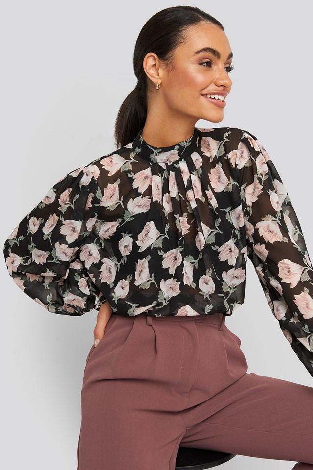 High Collar Flower Print Blouse Black/Pink Flower Print