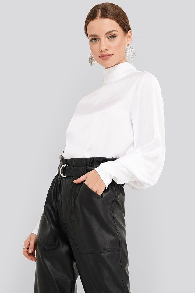 High Collar Satin Blouse White