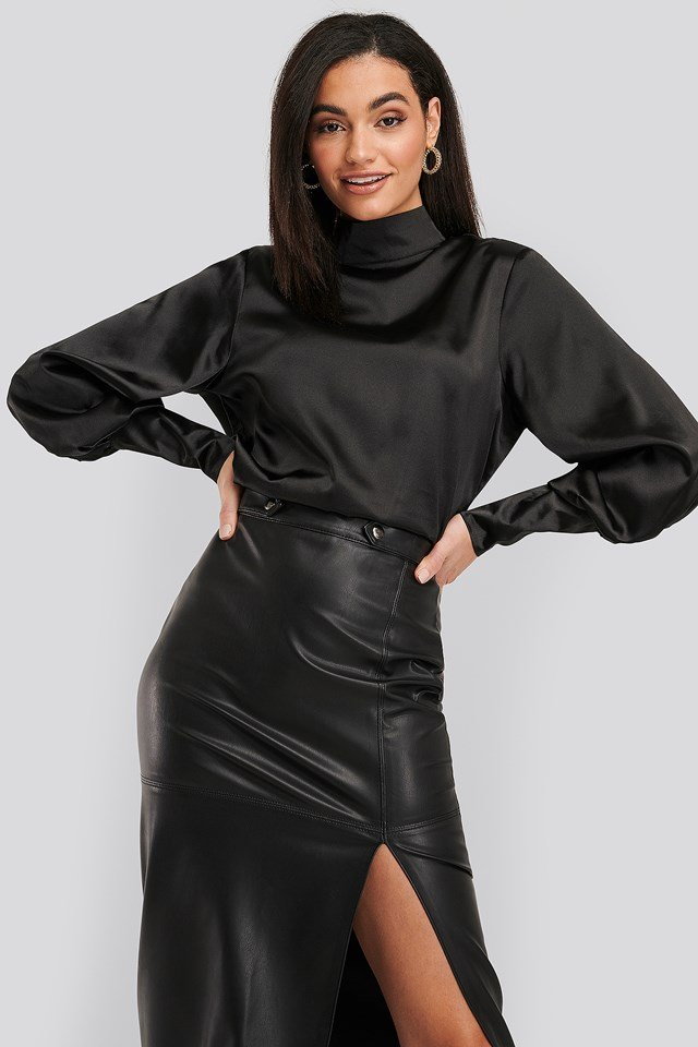 High Collar Satin Blouse Black