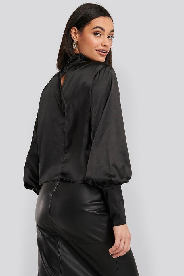 High Collar Satin Blouse Black