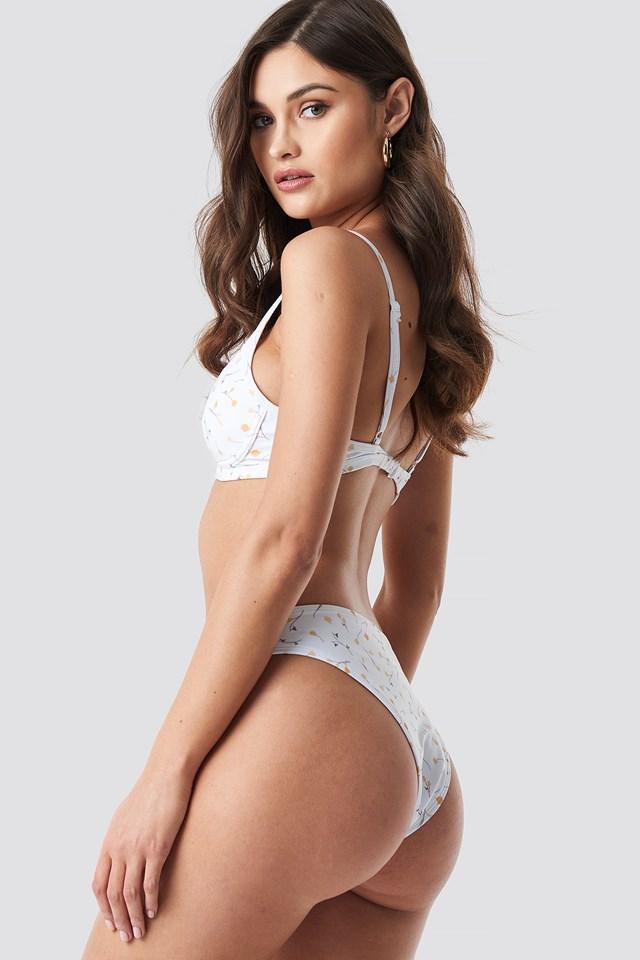 High Cut Bikini Panty White Print