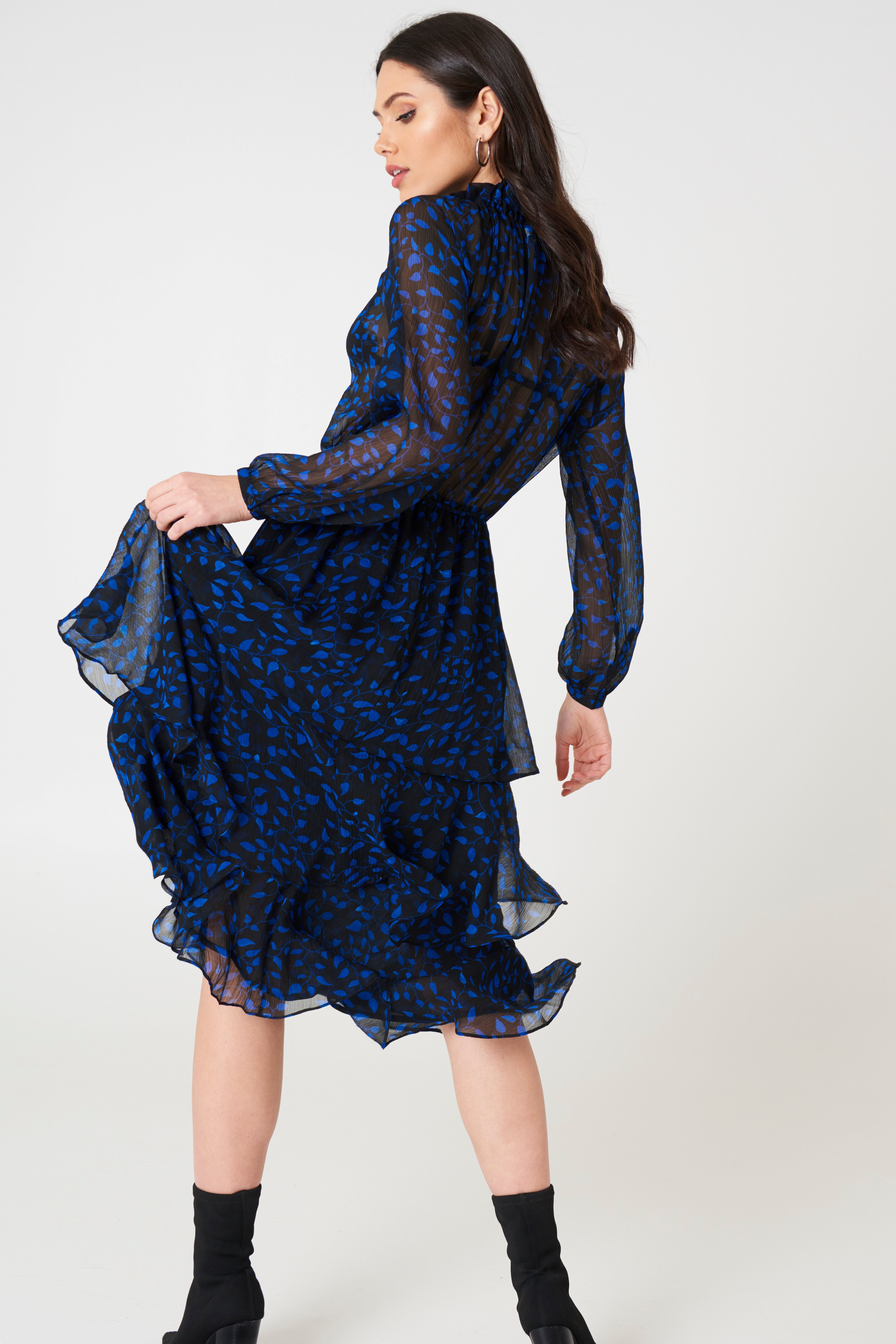 High Neck Frill Midi Dress NA-KD.COM