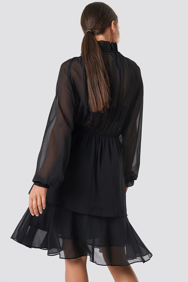 High Frill Neck Dress Black