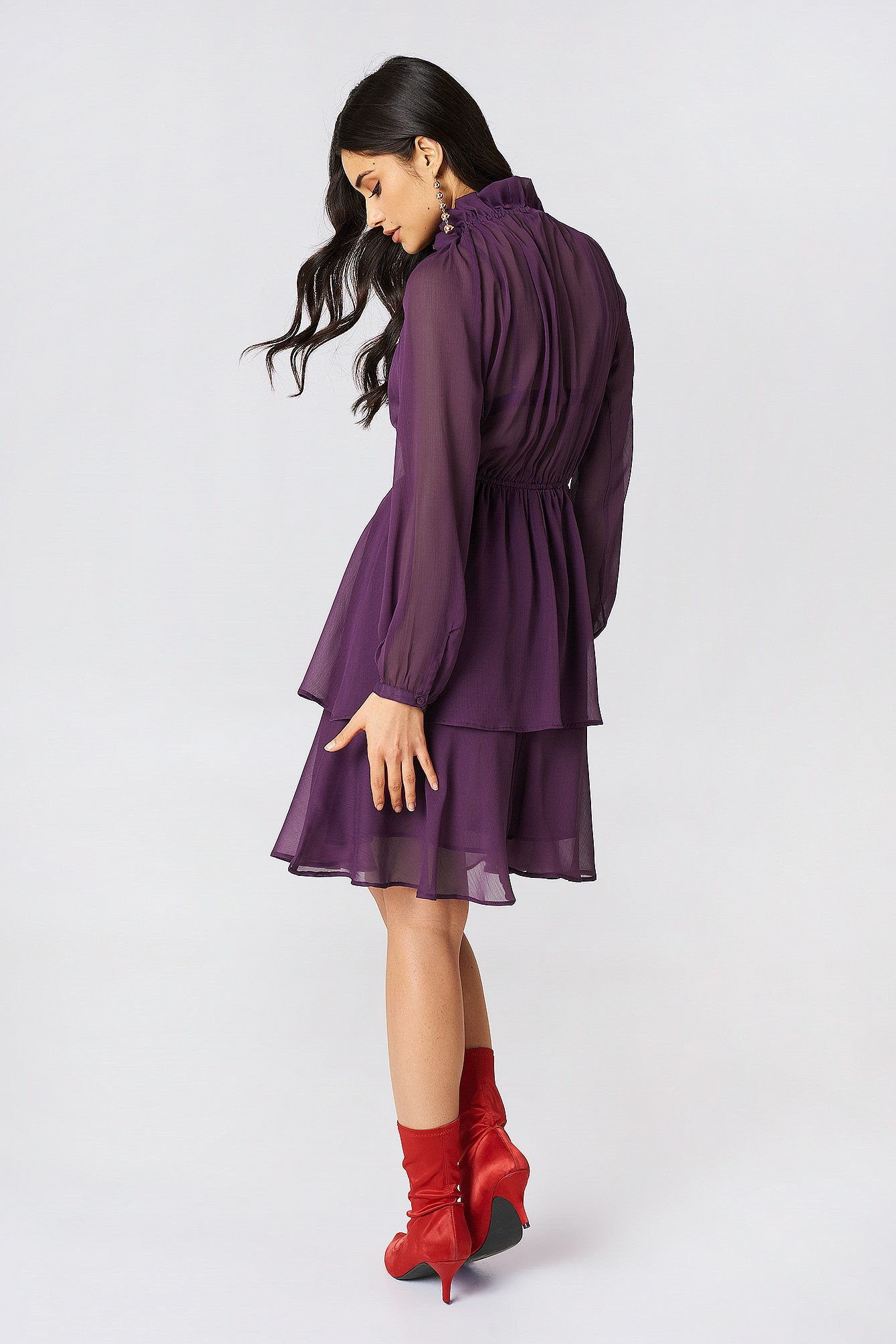 High Frill Neck Dress NA-KD.COM