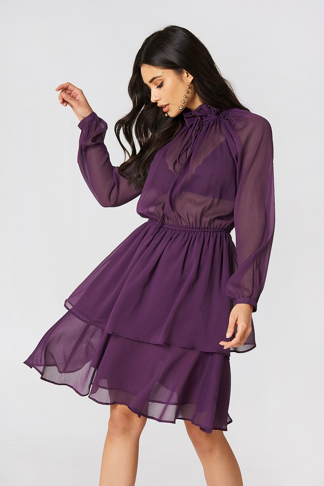 High Frill Neck Dress Purple