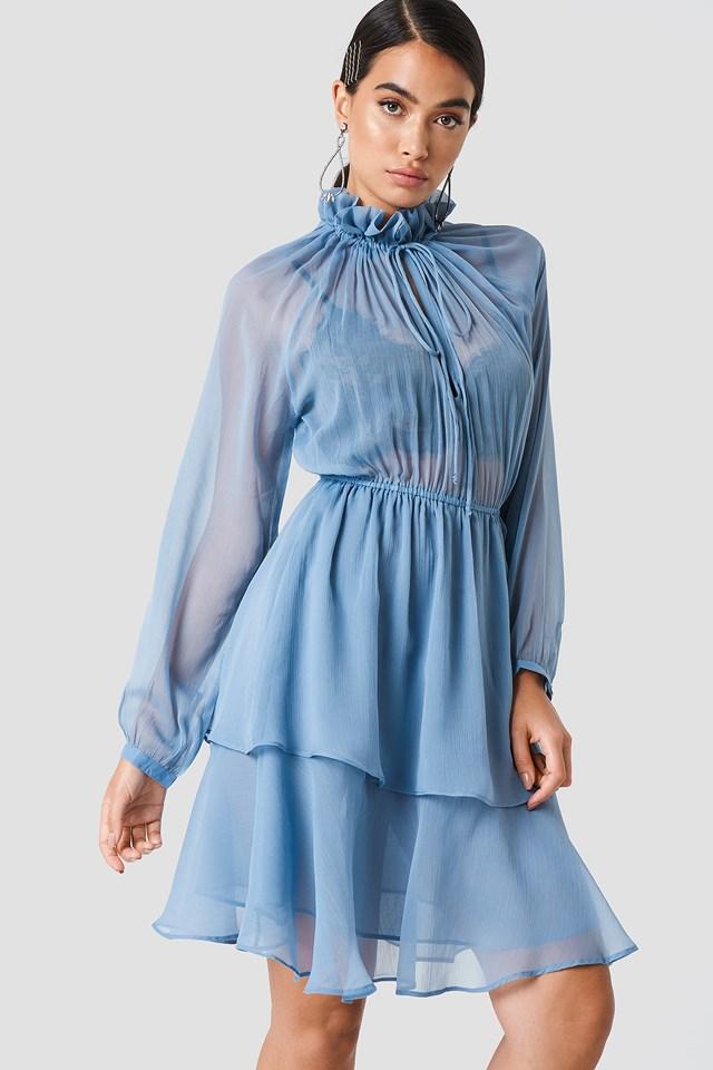 High Frill Neck Dress Blue Stone