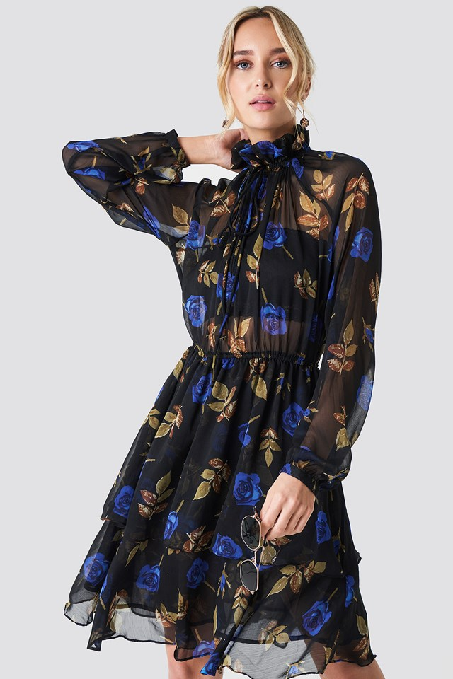 High Frill Neck Dress Blue Roses