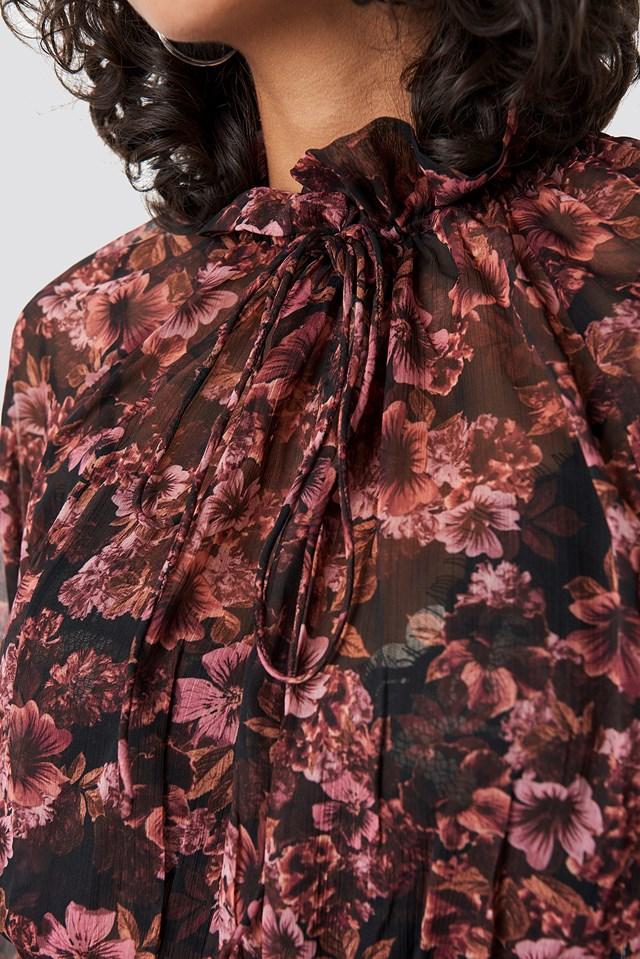 High Frill Neck Dress Dusty Pink Carnesbill