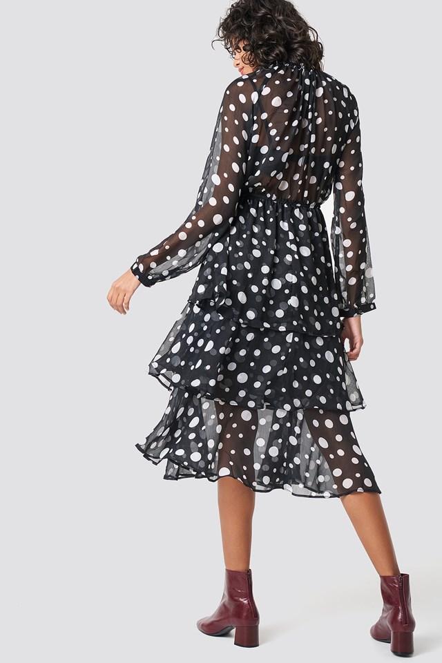 Sukienka midi ze stójką Irregular Black/White Dot