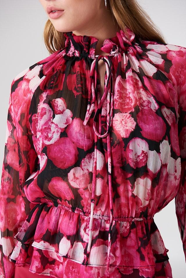 High Frill Neck Top Pink Flower