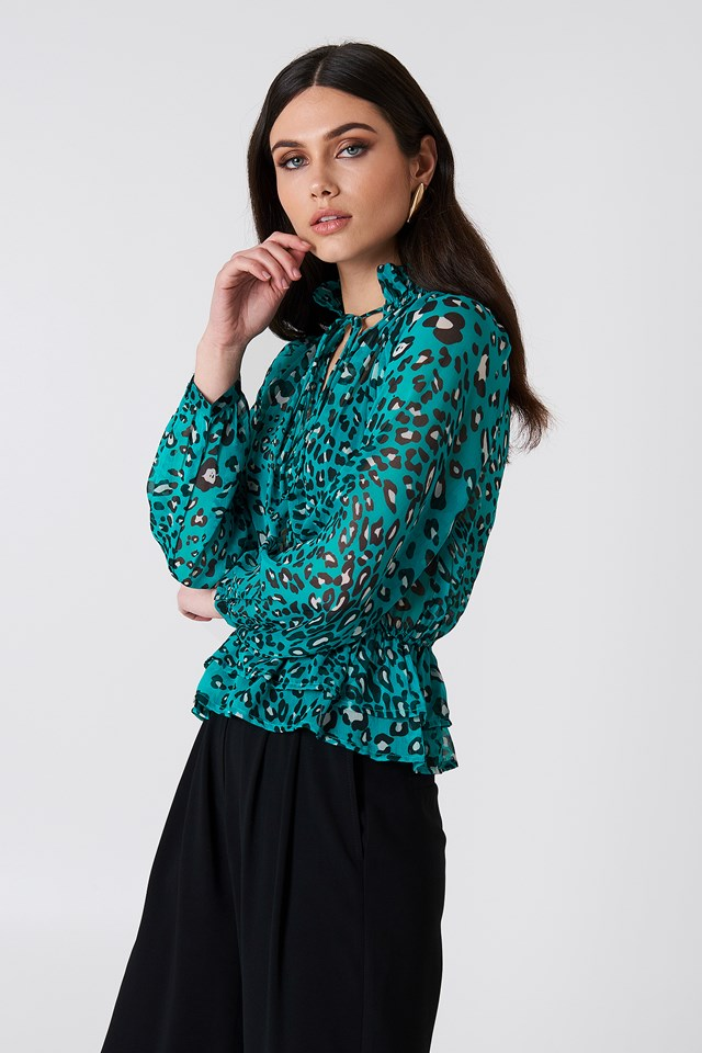 High Frill Neck Top Green Leo Print
