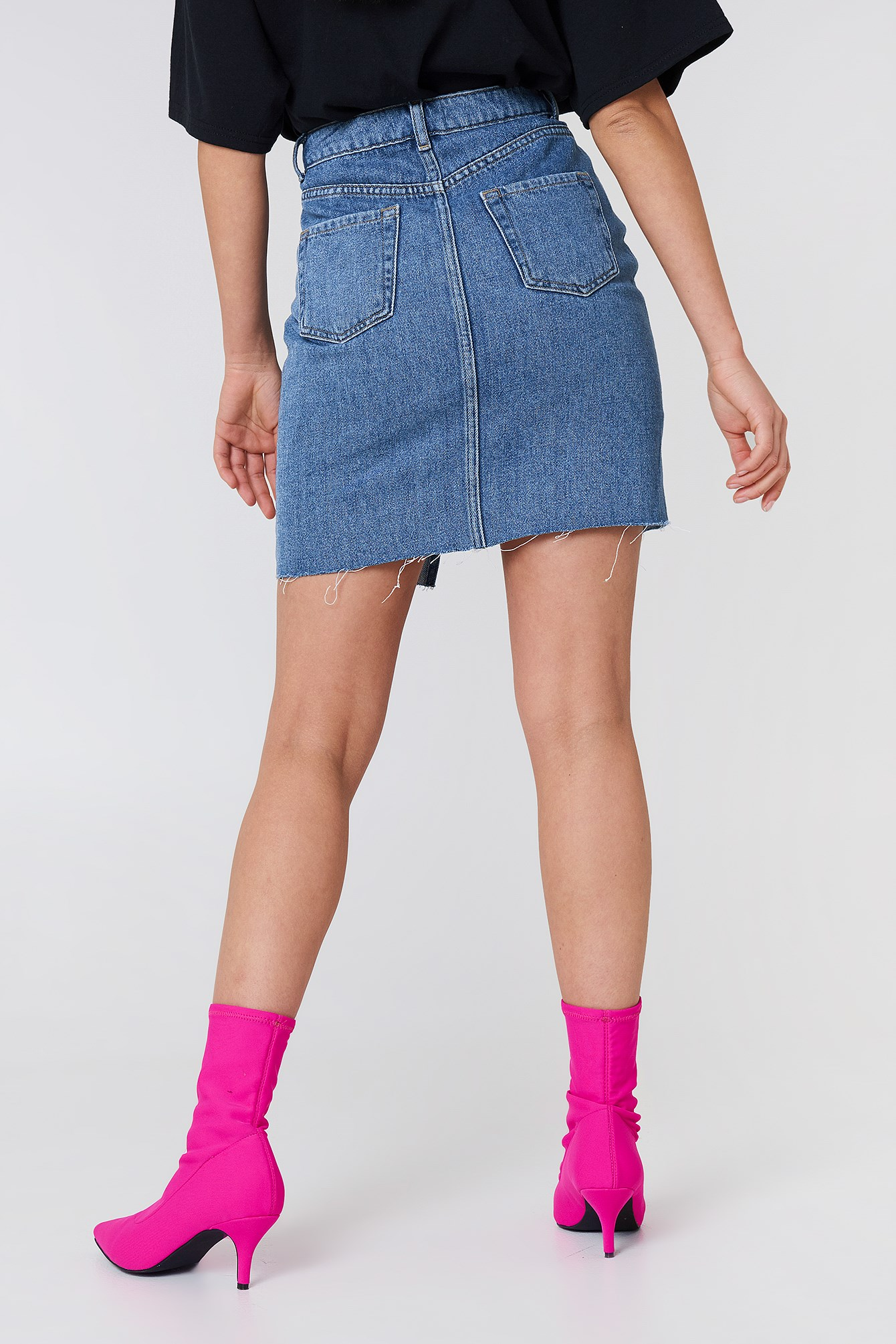 High Front Slit Denim Skirt NA-KD.COM