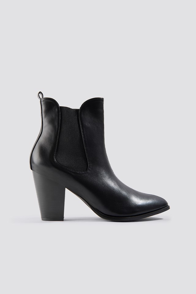 High Heel PU Boot Black